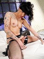 Classy slut Amazing Kelly stroking in stockings.